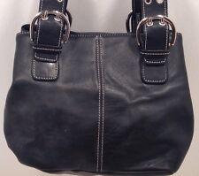 Clarks Handbag Black Pebbled Leather W/ Buckle Staps Tote Satchel Purse
