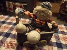 Americana Rag doll & primitive wood wagon