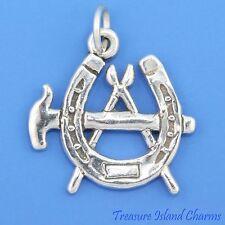 Hammer Fire Tongs Horseshoe Blacksmith Farrier Symbol .925 Sterling Silver Charm