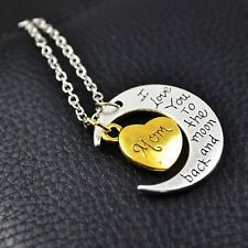 I Love You To The Moon & Back Mom Necklace & Pendant Mothers Day Bday Best Gifts
