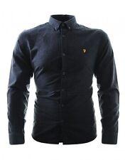 Farah Men's Size Small Steen Long Sleeve Slim Shirt in Coal Colour