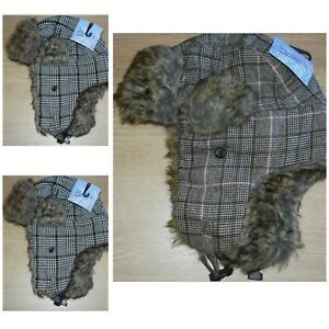 "New! Women's Nochilla Winter Hat With Ear Flaps-Pink/Brown/Cream Plaid W/""Fur"""