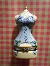 NOVELTY BODY Trinket Pill Box Porcelain China BASQUE DRESSMAKER DUMMY BURLESQUE