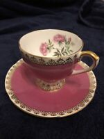 Rare Taylor And Kent Dark Pink With Gold Filigre. Perfect Cup And Saucer!