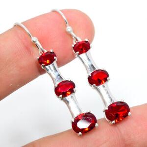 """Garnet Gemstone 925 Sterling Silver Earring Jewelry 1.64"""" S1946"""