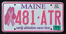 "MAINE "" EARLY DETECTION SAVES LIVES - CANCER "" ME Specialty License Plate"