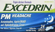 Excedrin PM Headache Caplets 24ct -Expiration Date 12-2017-