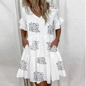 Femme robe courte été Maxi tunique col V bohème à motifs blanc rose vert