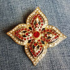 Vintage Maltese Medallion Flower Brooch Red Clear Crystals Gold Tone Unsigned