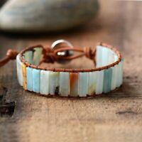 Bohemia Natural Stone Leather Braided Wristband Beaded Wrap Bracelet Bangle New