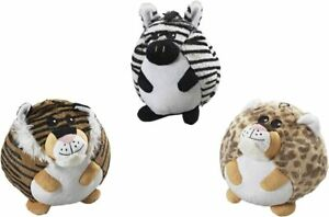 (3 TOYS) Spot Ethical Jungle Butterball fat dog toy assorted styles cutie 4 inch