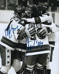 GFA 1980 Miracle Sobre Hielo Mike Eruzione & Jim Craig Firmado 8x10 Foto COA