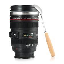 Travel mug objectif photo couvercle tasse en acier inoxydable Tumbler thé/Eau + cuillère