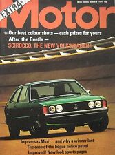 Motor magazine 9/3/1974 featuring Hillman Imp, Mini, VW Scirocco cutaway drawing