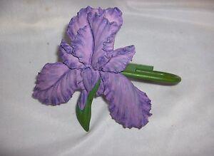 Pair Lavender Ceramic Iris Metal Curtain Drape Tie-Back Hooks Rare Nice