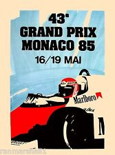 1985 Monaco Grand Prix Automobile Race Car Advertisement Vintage Poster