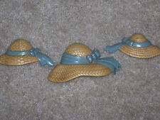 Set of Three Home Interior Hats Wall Plaques With Blue Ribbons