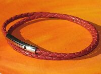 Ladies 3mm Red braided leather & stainless steel bracelet by Lyme Bay Art