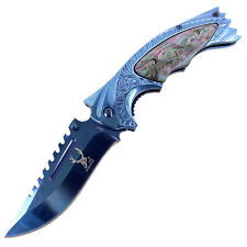 "The Bone Edge Brand 8.5"" SHARP Blue Spring Assisted Knife -"