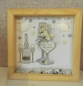 Beautiful wedding gift! 3d deep box ON YOUR WEDDING DAY, glasses, silver, bells