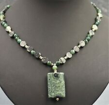 Women's Green Jasper Necklace Silver Toned