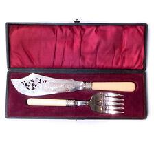 Vintage Silver Plated Fish Serving Knife & Fork w/ Case Set