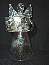 """Yankee Candle Angel Silver Filigree-Style Tea Light Candle Holder 6"""" Tall NEW"""