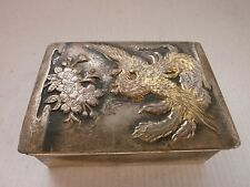 Antique Vintage Russian,Soviet  Jewelry Box, Metal, Mythical Phoenix and Flowers