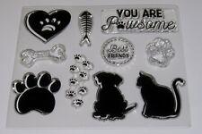 Cat & Dog Clear Stamps - Paw Prints, Fish, Bones Set of 10  – BNIP – FREE P & P