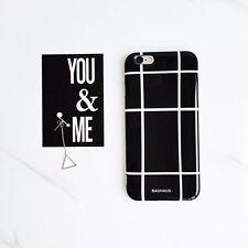Simple Retro Grid Pattern BlackWhite Couple Soft Case Cover For iPhone 6 6S Plus