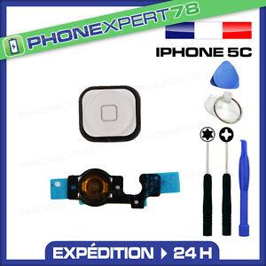 KIT BOUTON HOME BLANC POUR IPHONE 5C AVEC NAPPE ET JOINT + OUTILS