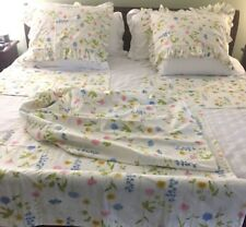 All Cotton Standard Size Sheet Set With 2 Pillow Shams Blue Yellow  Pink Floral