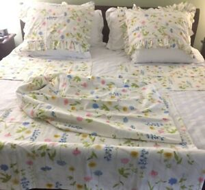 Vintage Wamsutta Ultracale Sheet Set Full Sz 2 Pillow Shams 50/50 Cotton/poly