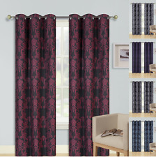1 Set Paisley Blackout Lined Window Curtain Panels Silver Grommet Top Cole