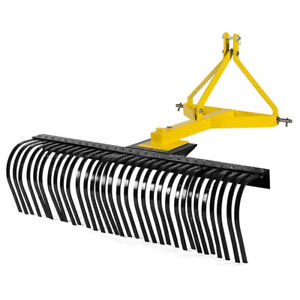 Attachments 5 FT Landscape Rake for Compact Tractors Tow-Behind Garden Tool