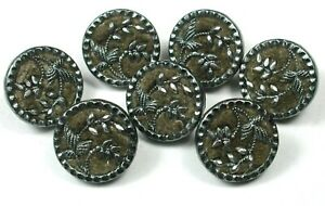 "7 Antique Brass Button Velvet Lined Floral design 7/16"""