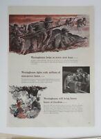 Original Print Ad 1943 WESTINGHOUSE Helps in Every Zero Hour WWII Artwork