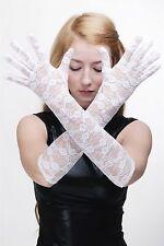 Burlesque Gloves Fishnet Gloves Lace Lace Gloves Long White Z074