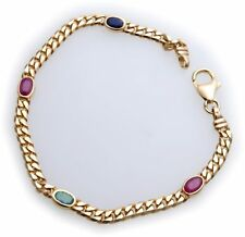 Bracelet Sapphire Ruby Emerald Real Gold 585 Solid Yellow Quality New