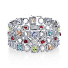 Sterling Silver Multi-colored Gem CZ Wide Bracelet Simulated Precious Stones