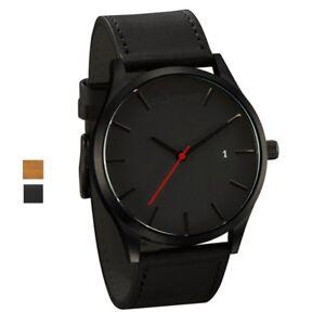 Men's Boys Leather Date Watch Waterproof Quartz Business Wrist Watches UK STOCK