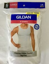 "Gildan Men's 6-Pack A-Shirts, White, LARGE (42-44"") 100% Cotton"