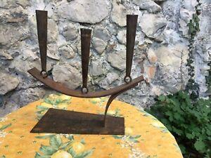 French Vintage Brutalist Candelabra Large Candle Holder Metal Art Modern Welded