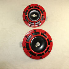 12V RED SUPER LOUD GRILLE MOUNT COMPACT ELECTRIC BLAST TONE HORN KIT 2PC