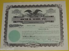 Oscar B. Score Inc.  7 Shares $100 Stock Certificate March 30, 1959 Nice See!