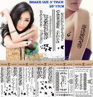NEW Arabic Muslim Tattoo Stickers Temporary Body Art BiggerSize 20*17cm(8*7inch)
