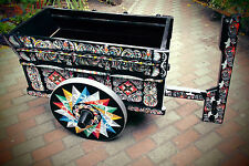 Barwagen / Servierwagen aus Guatemala, Südamerika, handbemalt, aus Holz