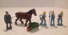6 PC VINTAGE LEAD TOY FARM FIGURES FARMERS-MAN W/WHIP-HORSE-WHEELBARROW CRESCENT