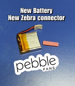 NEW Battery and NEW Zebra Connector PEBBLE CLASSIC & STEEL smartwatch