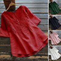 Belle Femme T-shirt Coton Manche Courte Broderie Col Rond Loisir Haut Tops Plus